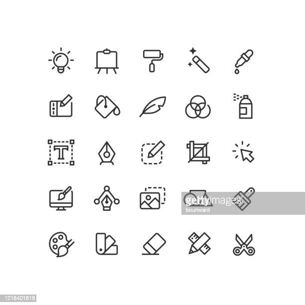 illustrations, cliparts, dessins animés et icônes de graphisme design outline icons - graphiste