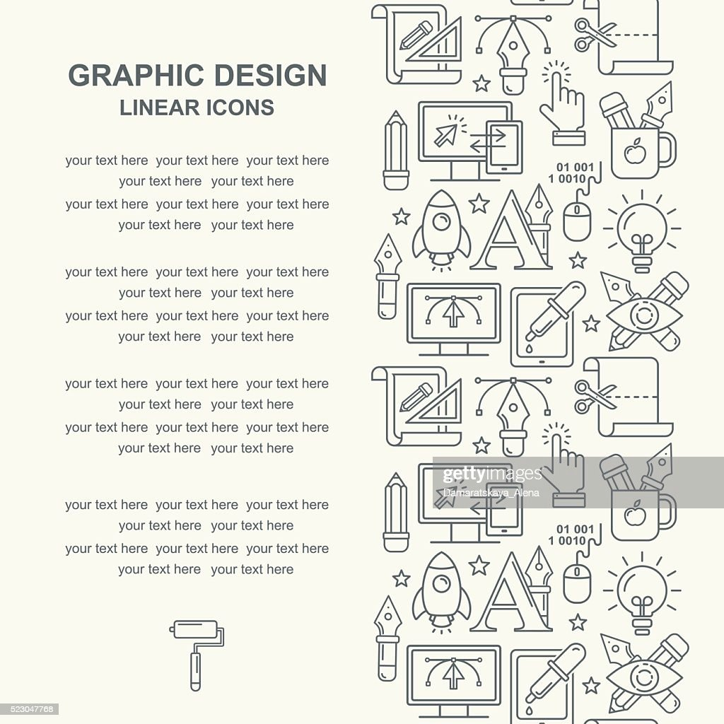 Graphic design pattern with grey linear icons