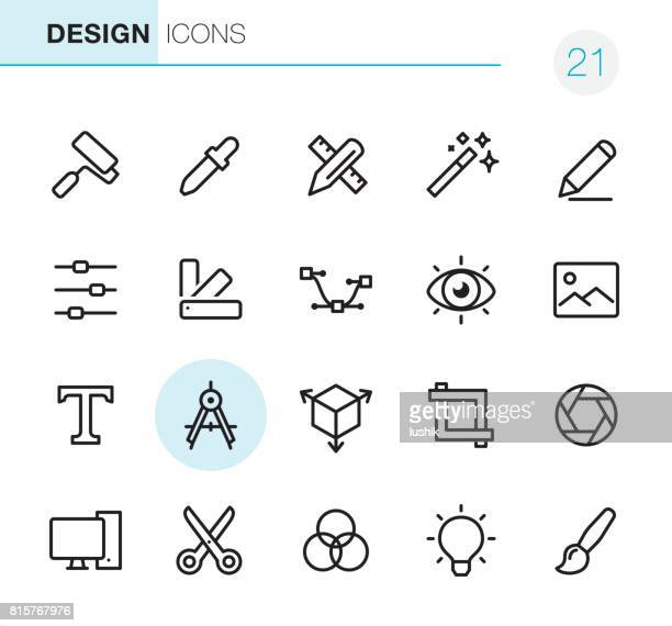 grafik-design - pixel perfect icons - kreativität stock-grafiken, -clipart, -cartoons und -symbole