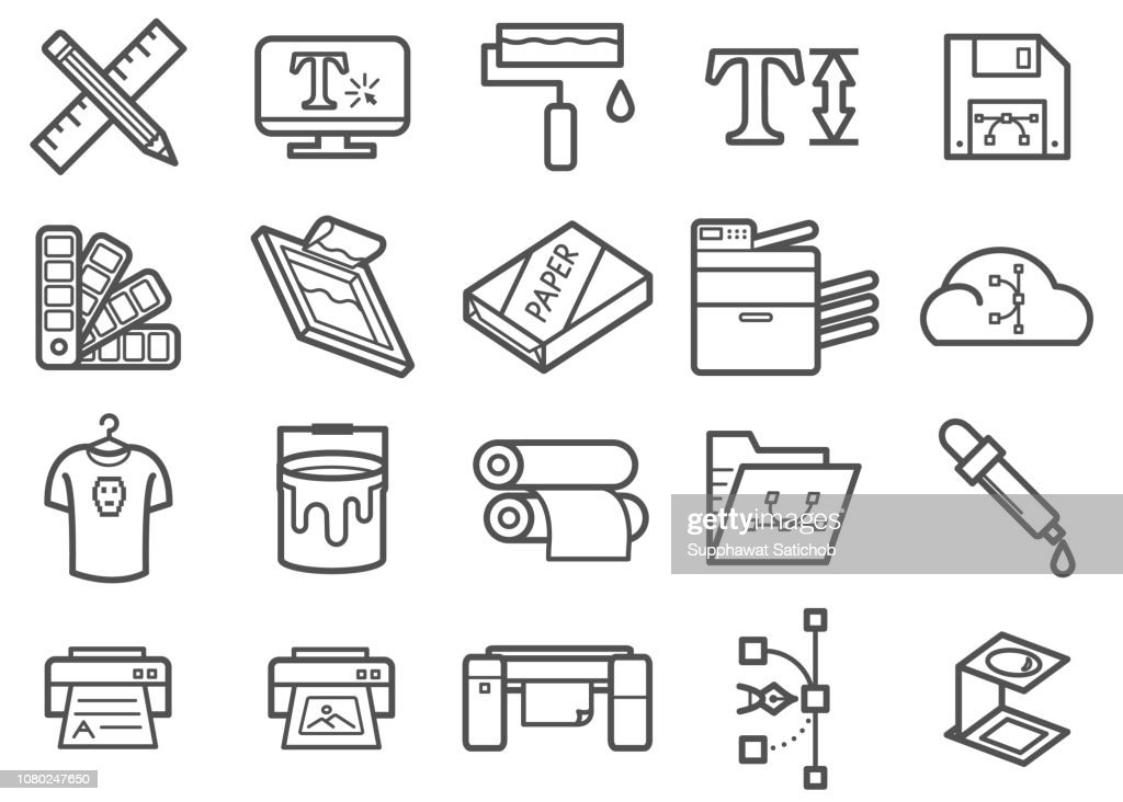 Graphic design & Print Line icons set : stock illustration