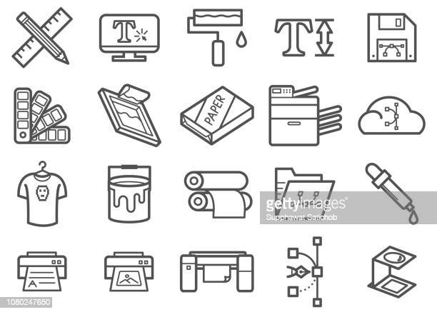 graphic design & print line icons set - printout stock illustrations