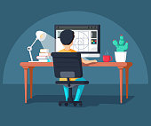 Graphic design professional in the middle of workflow, back view. Cool vector flat design illustration