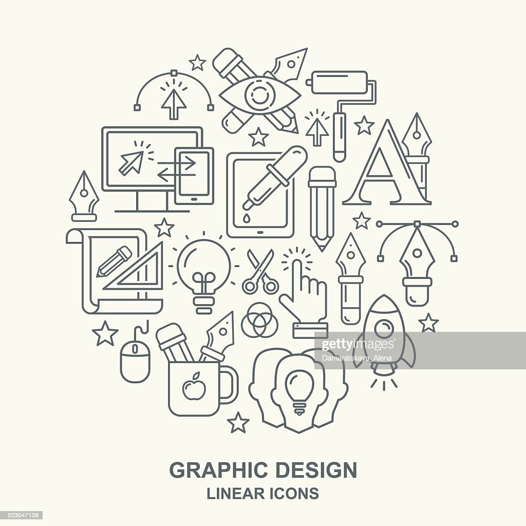 Graphic design round shape pattern with grey linear icon