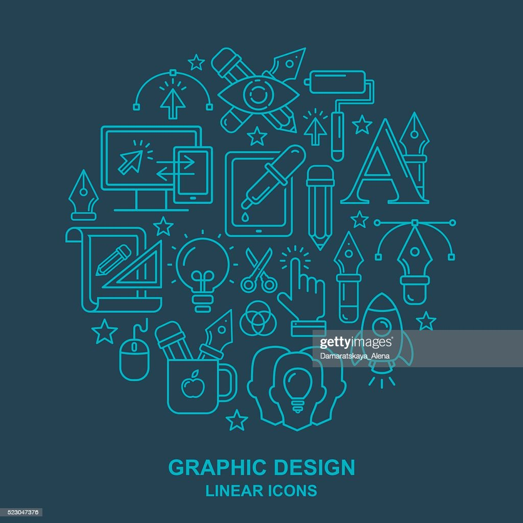 Graphic design round shape pattern with linear icons.