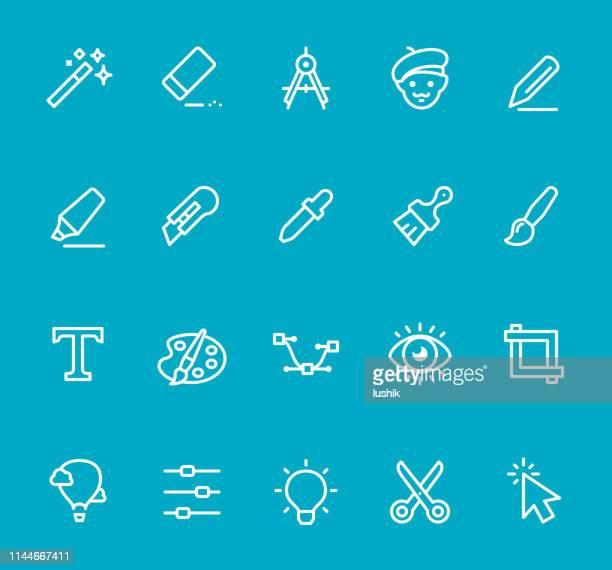 graphic design studio - line icon set - proofreading stock illustrations, clip art, cartoons, & icons