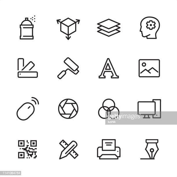 illustrations, cliparts, dessins animés et icônes de graphic design studio-ensemble d'icônes de contour - couches superposées