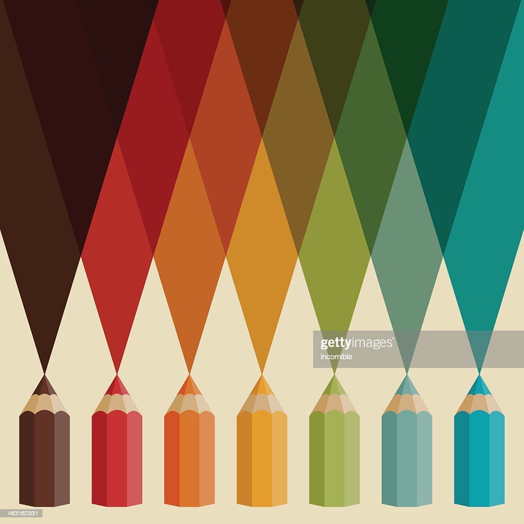 A graphic design that includes pencils in multi-colors