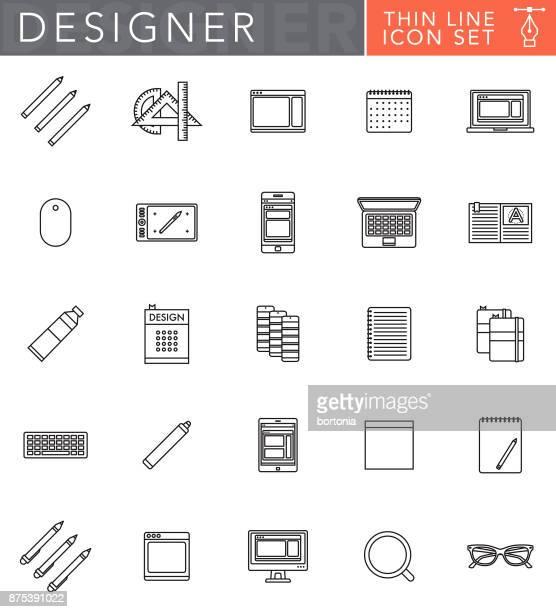 illustrations, cliparts, dessins animés et icônes de jeu d'icônes de fine ligne graphisme dans un style design plat - graphiste