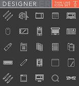 Graphic Design Thin Line Icon Set in Flat Design Style