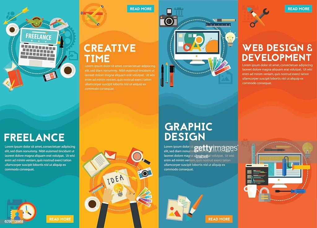 Graphic Design , Webdesign, Development, Freeance And Creative Time Concept