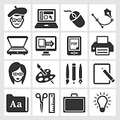 Graphic Designer and Computer Illustration black & white icon set