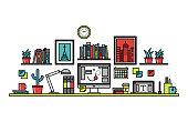 Graphic designer desk line style illustration