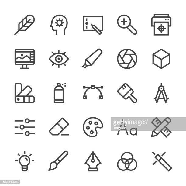 grafik designer ikonen - mediumx linie - design stock-grafiken, -clipart, -cartoons und -symbole