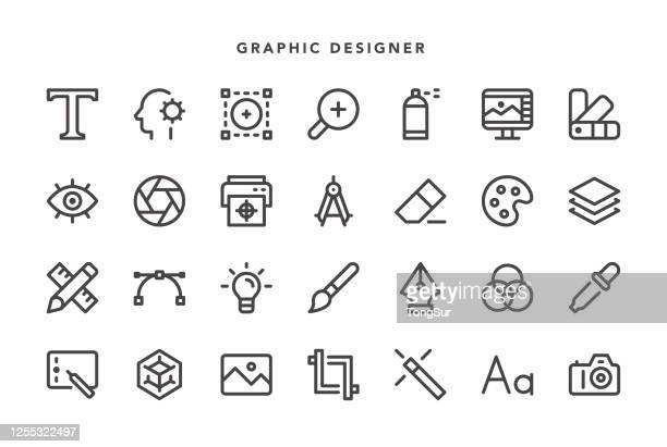 ilustraciones, imágenes clip art, dibujos animados e iconos de stock de iconos del diseñador gráfico - tableta gráfica
