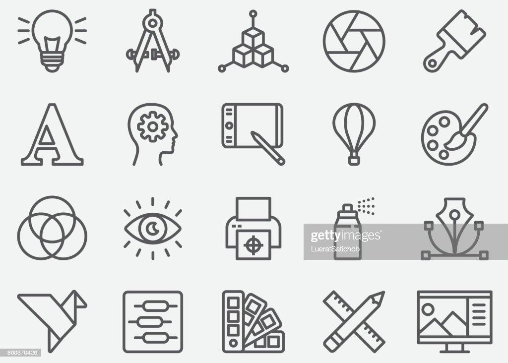 Ícones de linha de Designer gráfico : Ilustração