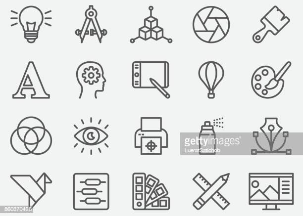 graphic designer line icons - work tool stock illustrations