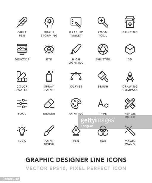 illustrazioni stock, clip art, cartoni animati e icone di tendenza di graphic designer line icons - design