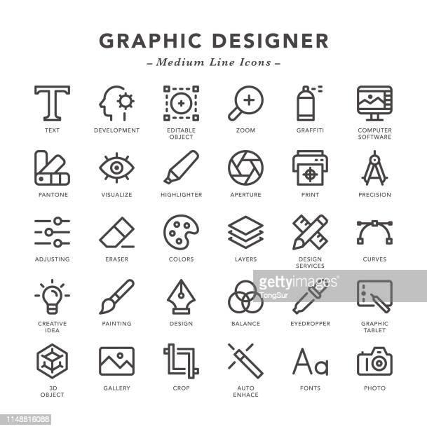 Graphic Designer - Medium Line Icons