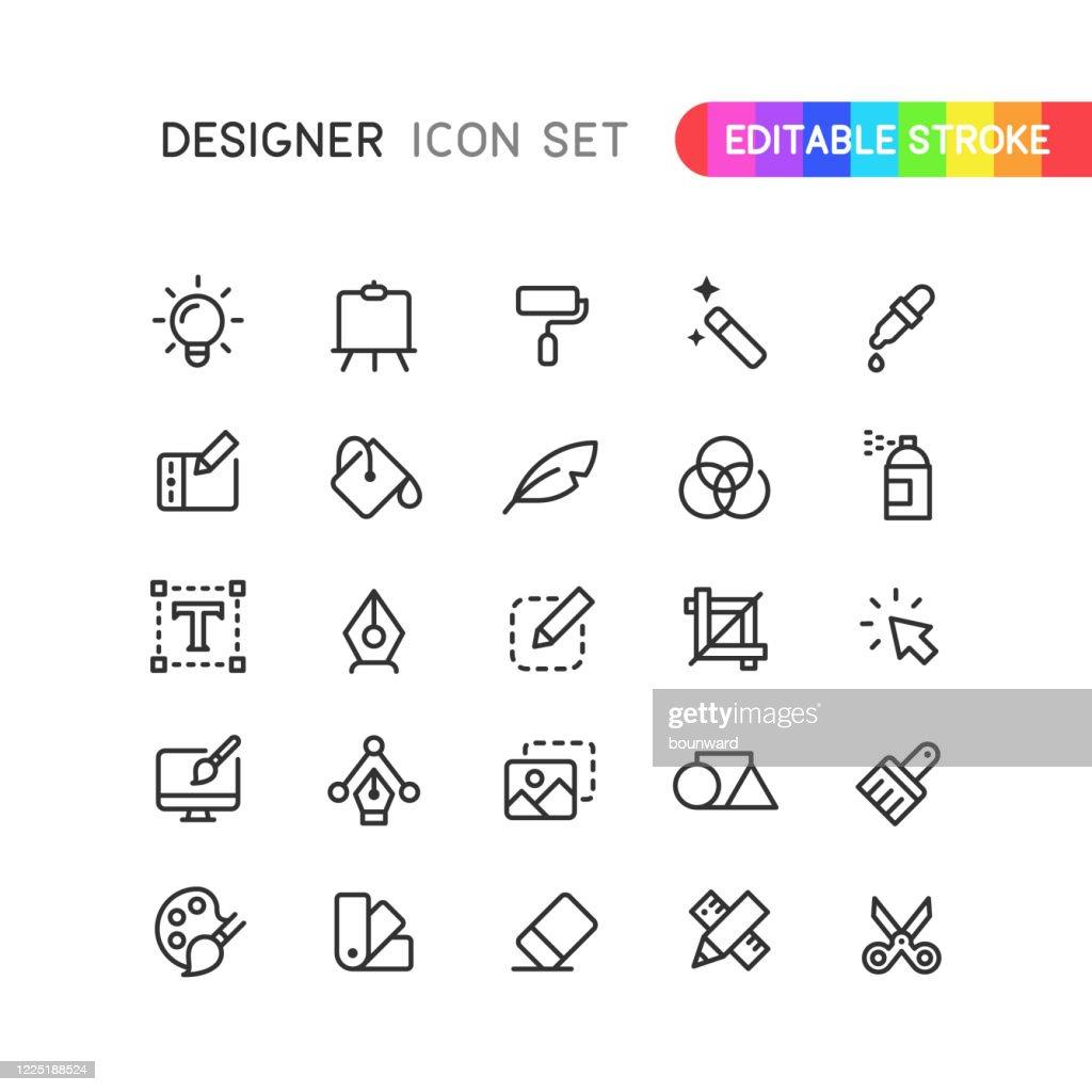 Ícones do contorno do designer gráfico Traçado editável : Ilustração