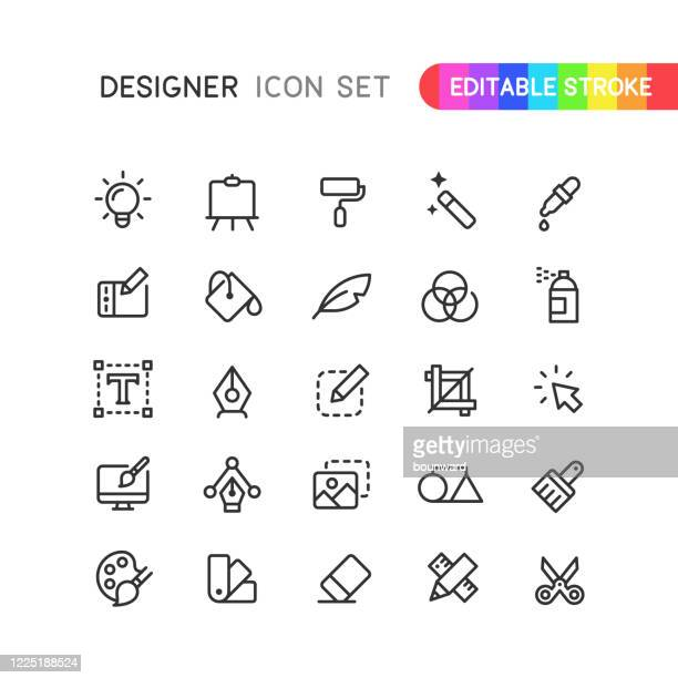 illustrations, cliparts, dessins animés et icônes de graphic designer outline icons editable stroke - créativité