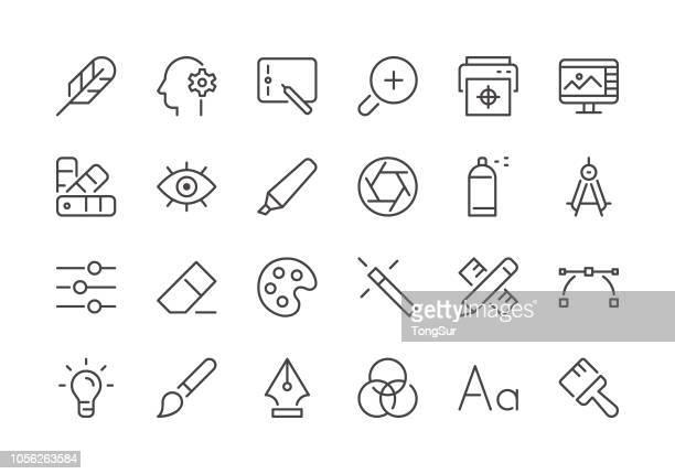 illustrations, cliparts, dessins animés et icônes de graphiste - icônes de ligne régulière - agence de design