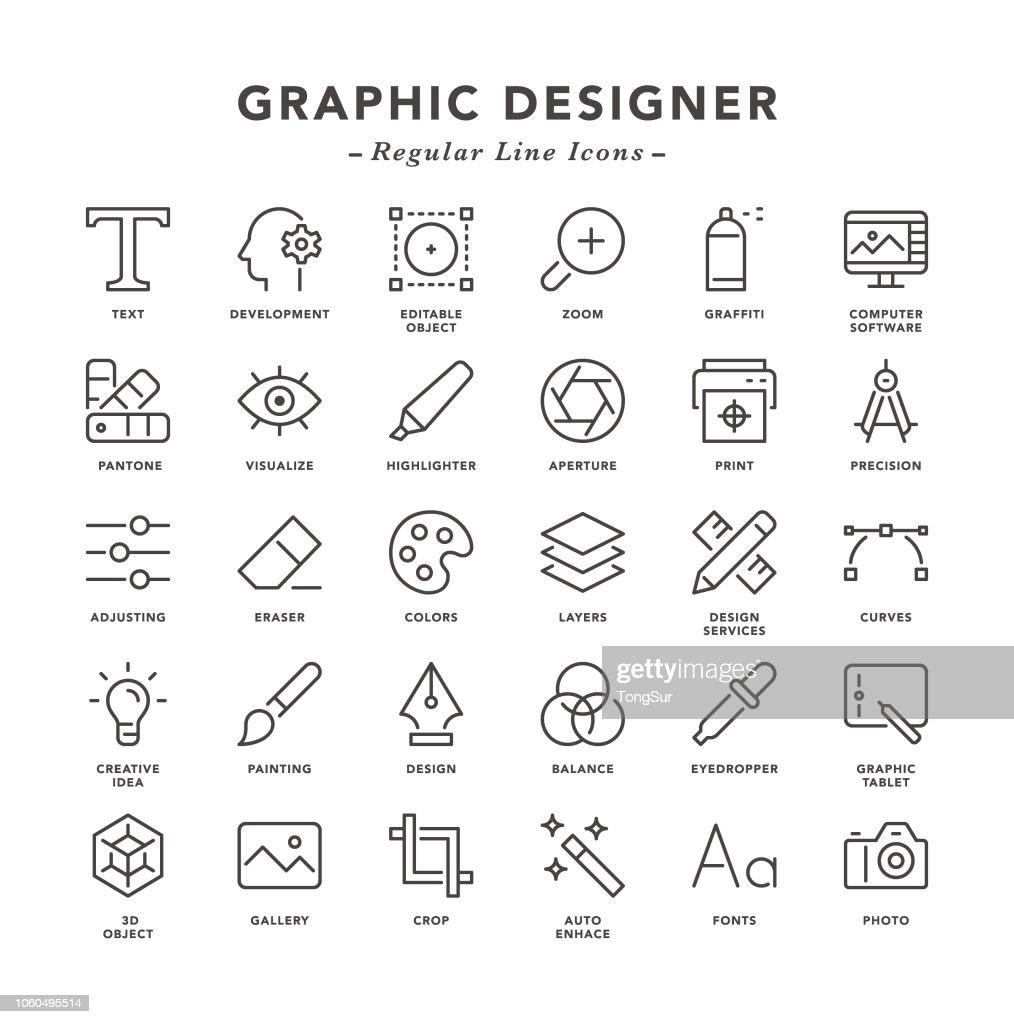 Graphic Designer - Regular Line Icons : Stock Illustration