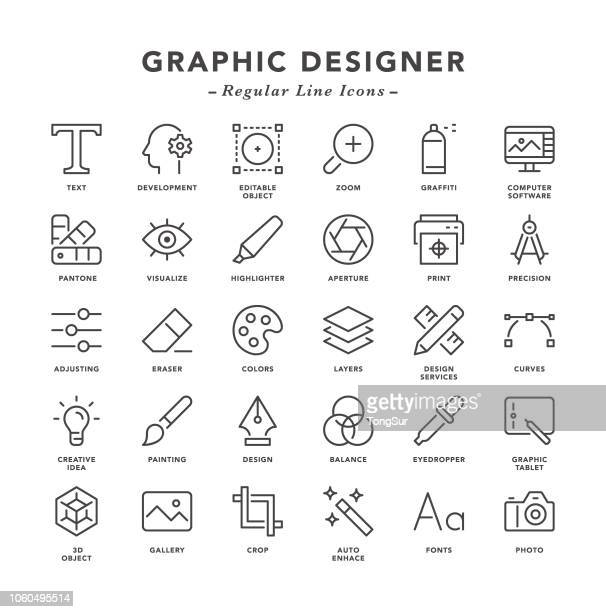 graphic designer - regular line icons - computer part stock illustrations