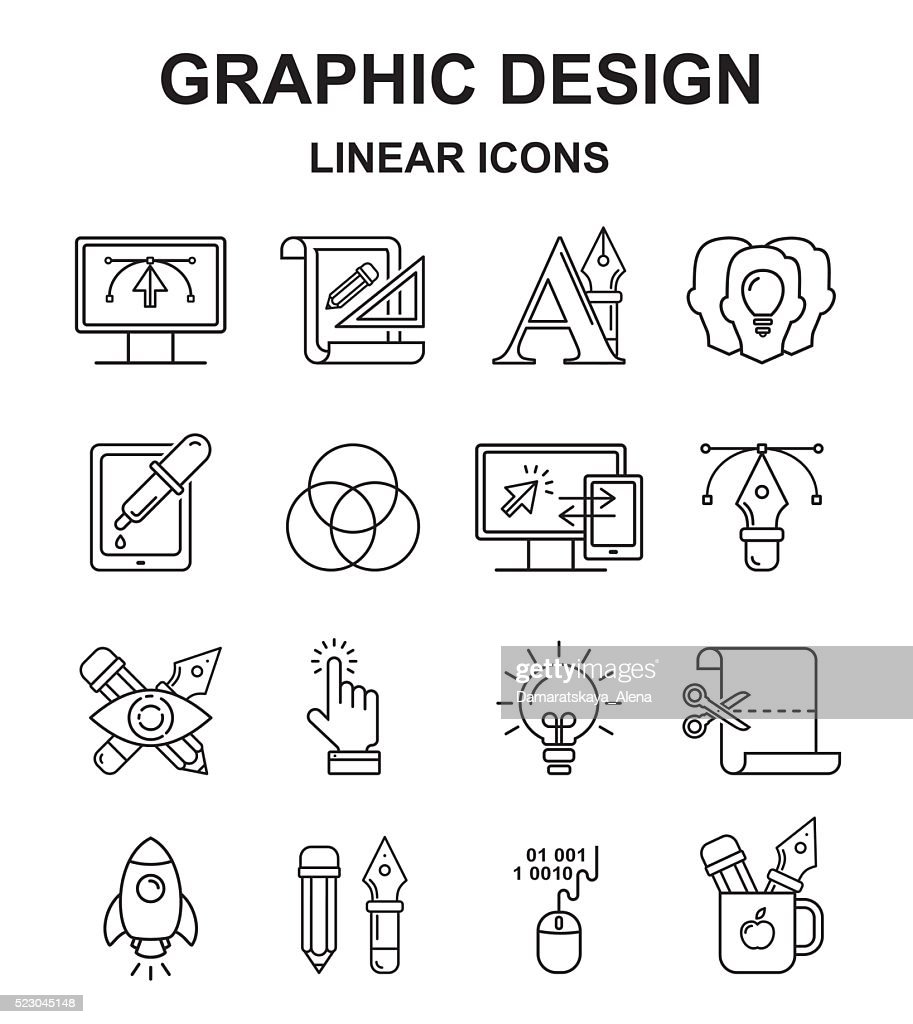 Graphic designer vector icons set in linear style