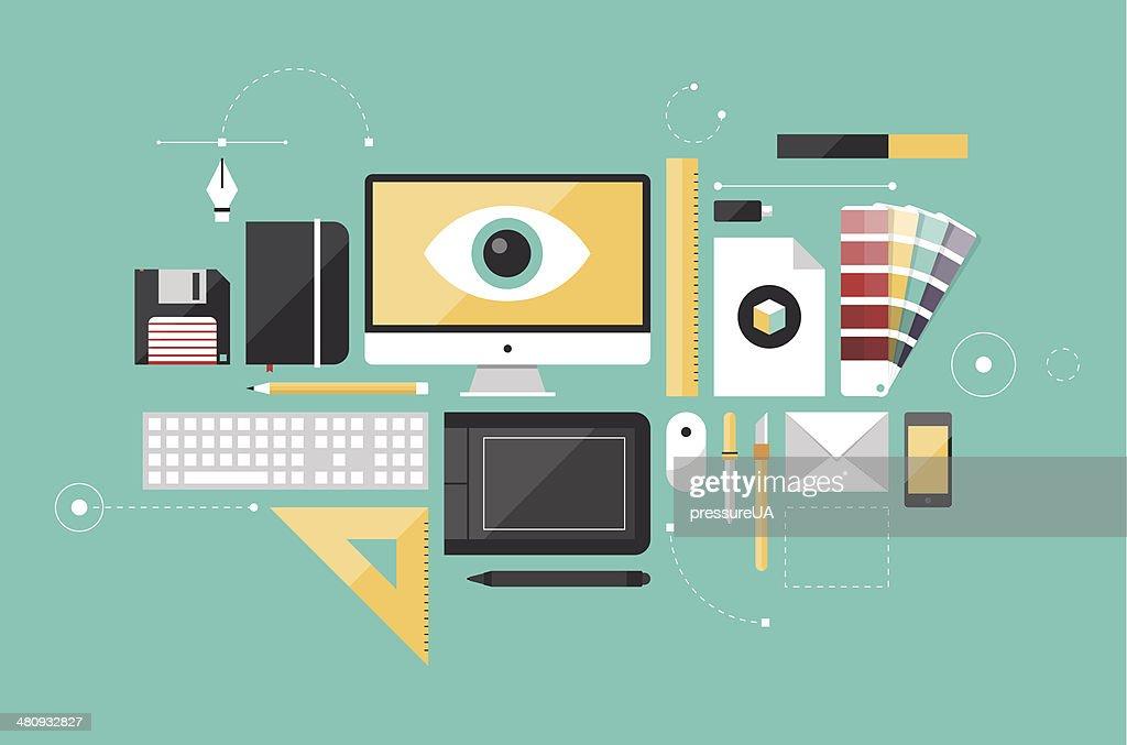 Graphic designer workplace flat illustration