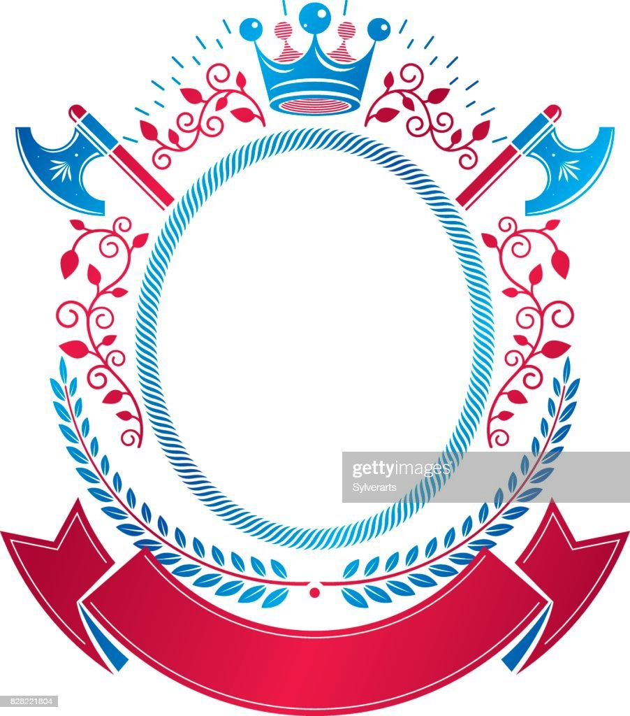 Graphic emblem composed with royal crown element, axes and luxury ribbon. Heraldic Coat of Arms decorative symbol isolated vector illustration.