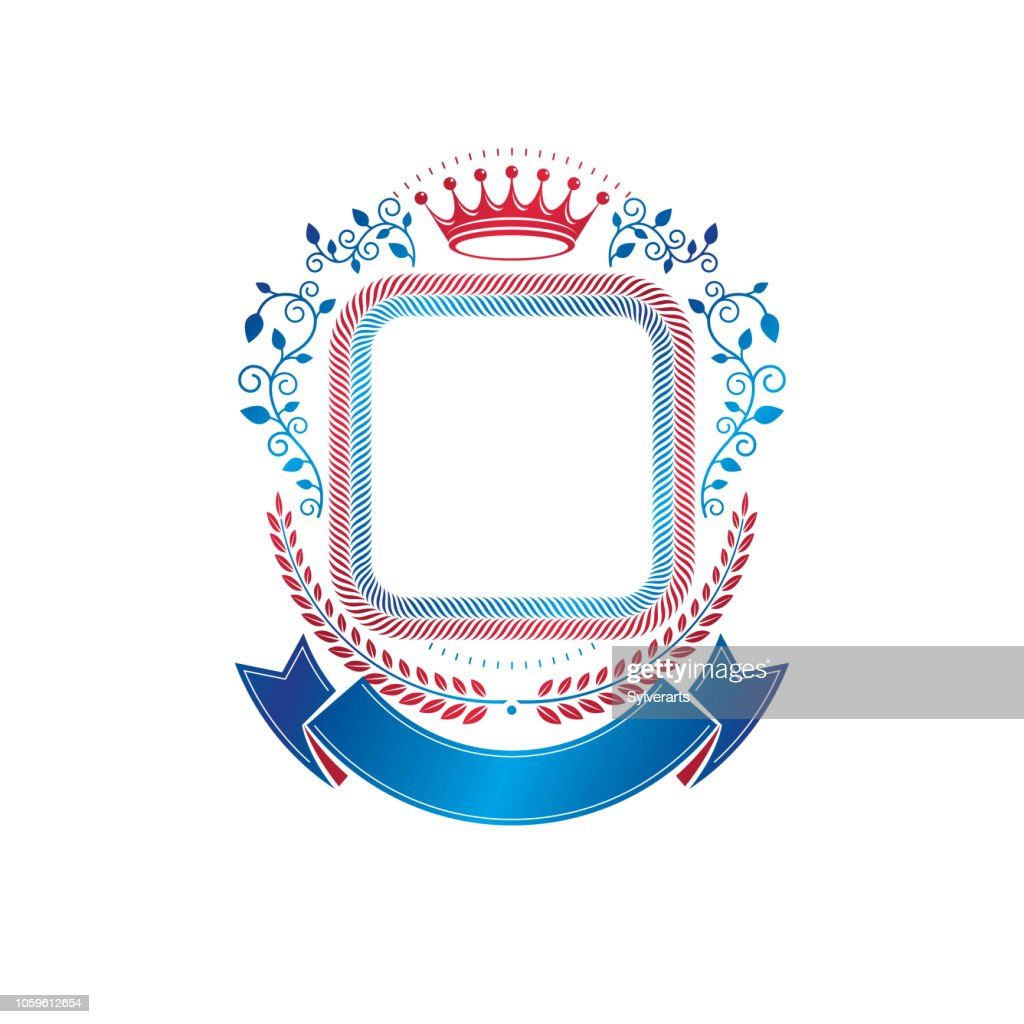 Graphic emblem created with ancient Crown and laurel wreath. Heraldic vector design element decorated with blue ribbon. Retro style label, heraldry.