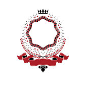 Graphic emblem made with imperial Crown, red elegant ribbon and laurel wreath. Heraldic Coat of Arms, vintage vector.