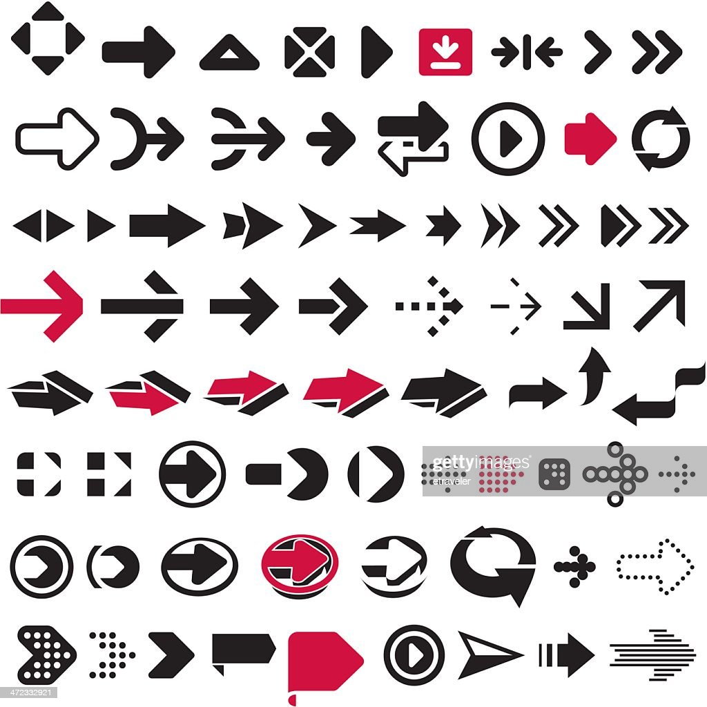 Graphic icons of different arrows