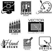 Graphic illustration design studio vector icons