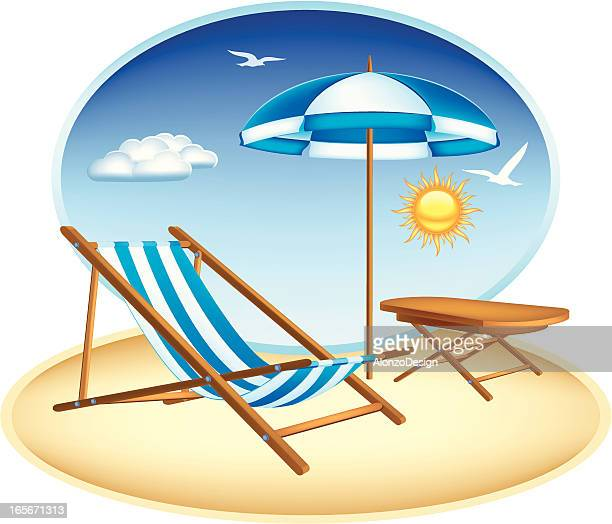 Graphic illustration of a blue and white beach chair and sun