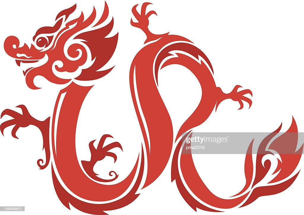 Graphic illustration of a red dragons