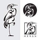 Graphic illustration of single bird - one heron.