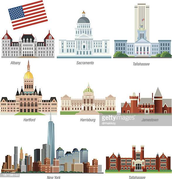 Graphic illustration of some of USA's historic buildings