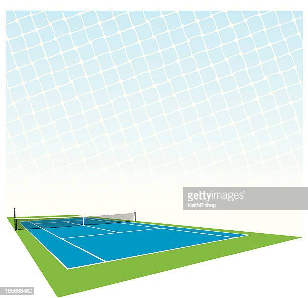 graphic illustration of tennis court and net - tennis stock illustrations