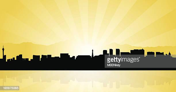 Graphic illustration of the Las Vegas skyline in silhouette