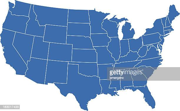 A graphic illustration of the United States map, in blue
