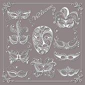 Graphic illustration with a decorative masks_set 1