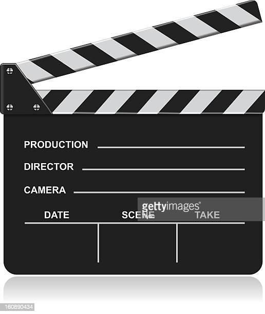 ilustraciones, imágenes clip art, dibujos animados e iconos de stock de claqueta de cine - claqueta de cine