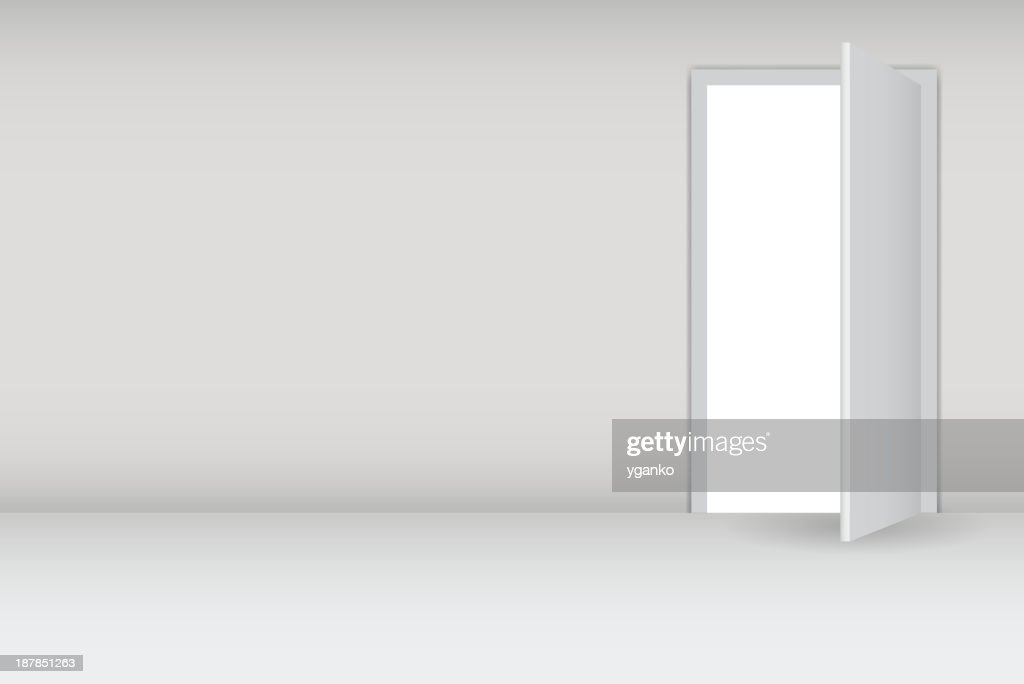 Graphic image of a door being opened