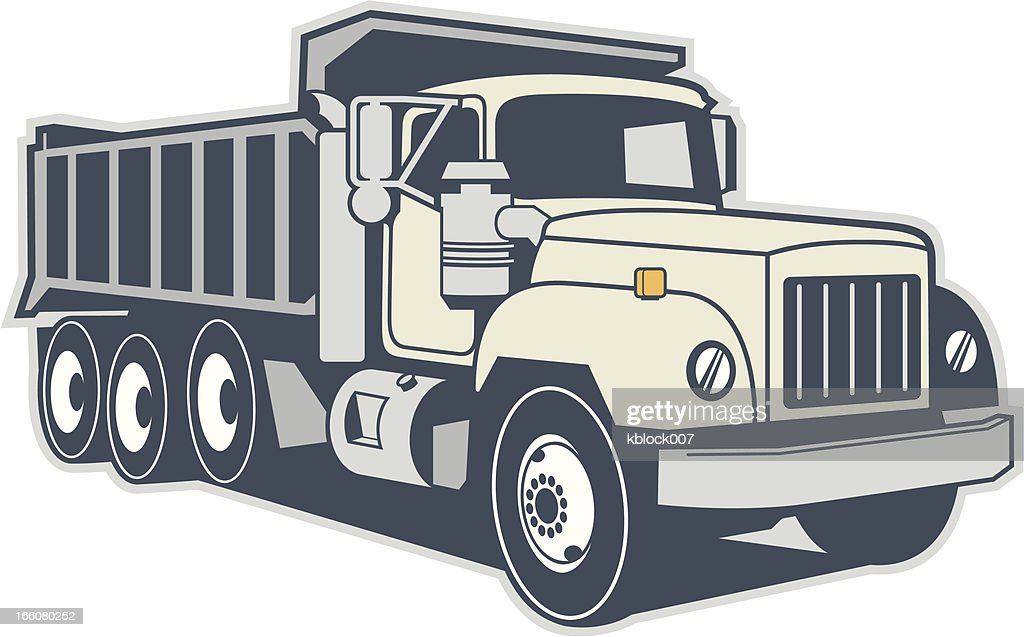 Graphic image of a dump truck on a white background
