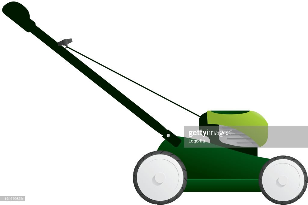 Graphic image of a green lawnmower on white background