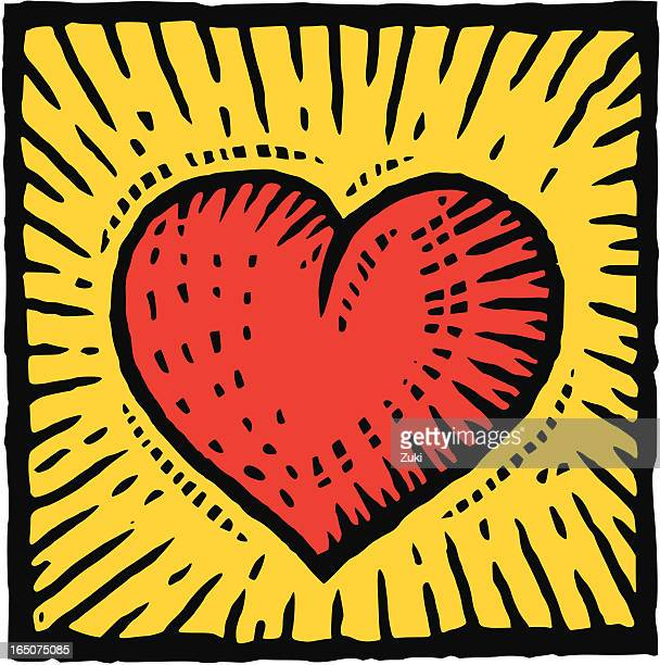 graphic image of a red heart on a yellow background - woodcut stock illustrations