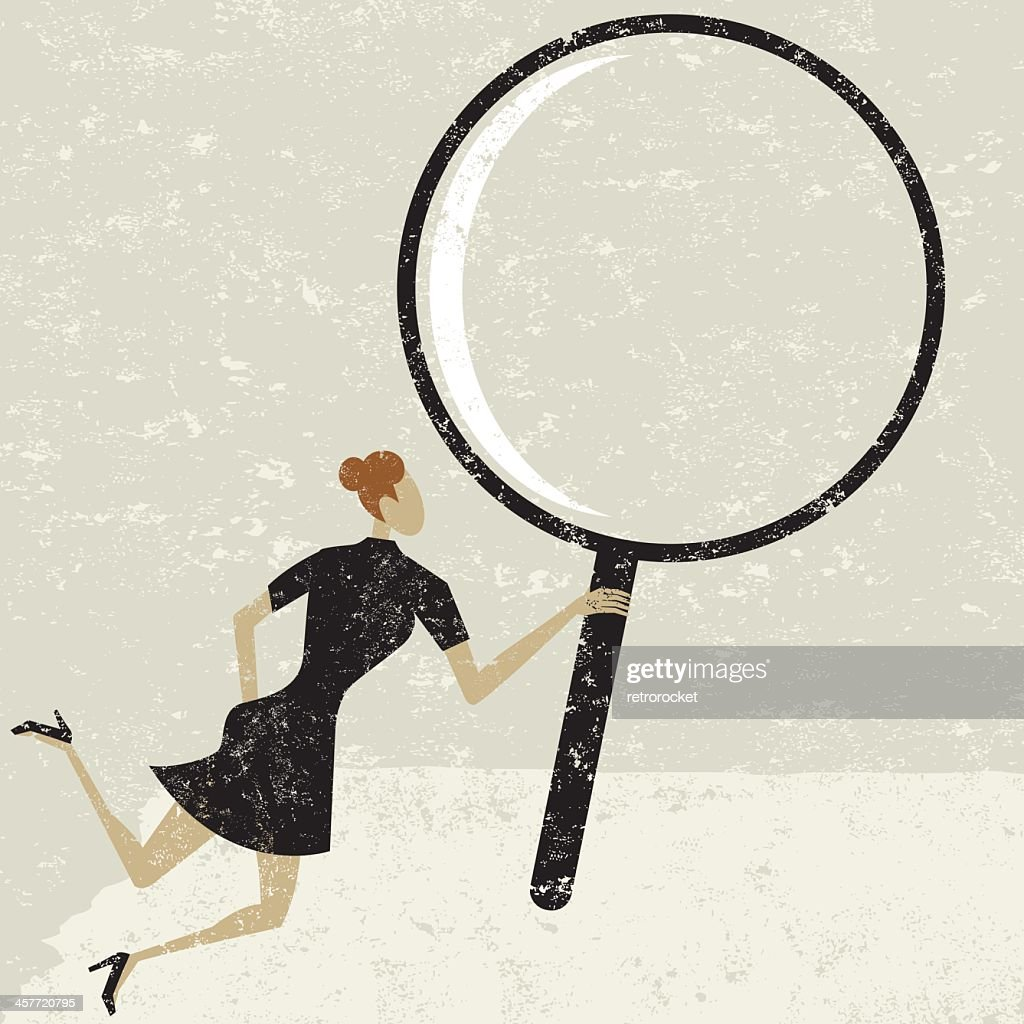 Graphic image of a woman holding a giant magnifying glass