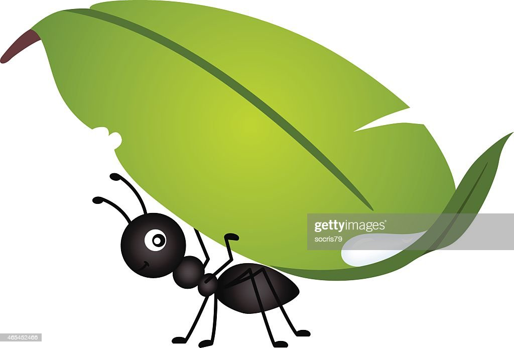 Graphic image of an ant carrying a leaf