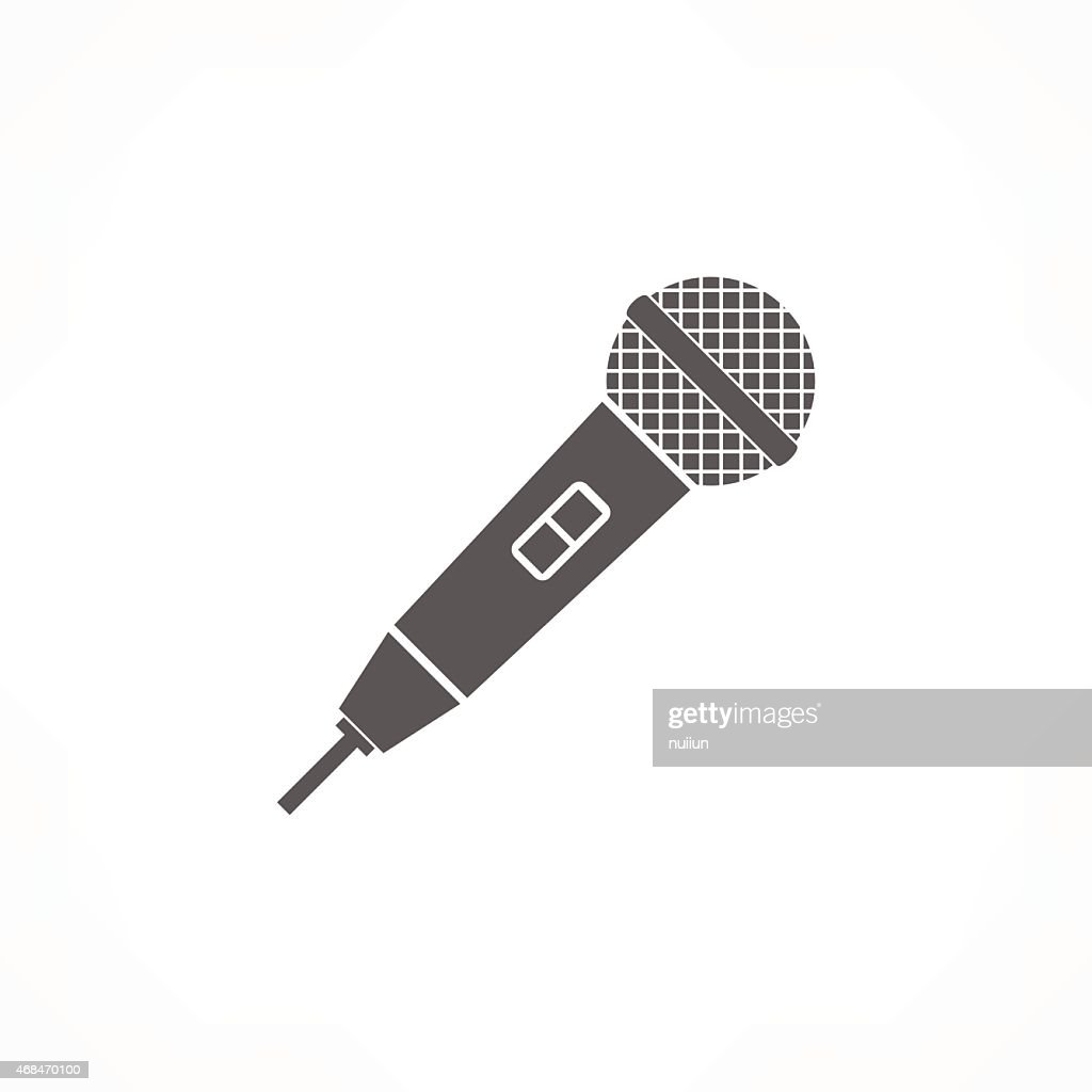 Graphic image of black microphone on white background
